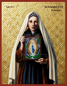 St. Bernadette Soubirous icon by Theophilia on DeviantArt Praying The Rosary Catholic, Roman Catholic, St Bernadette Soubirous, Christ Pantocrator, Royal Priesthood, Thomas Aquinas, Mary Magdalene, Best Mother, Patron Saints