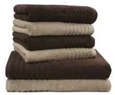 """6 tlg. Handtuchset """"Gallant"""" braun / beige 2 Badetücher 70 x 140 cm braun/beige und 4 Handtücher 50 x 100 cm braun/beige – Qualität 565 ², 100 % Baumwolle"""