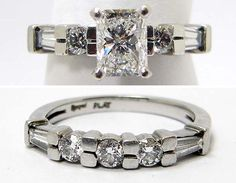 One lady's platinum and diamond engagement ring. Set in a four prong head is a radiant cut diamond measuring approximately mm x mm x mm weighing approximately ct. Cute Engagement Rings, Radiant Cut Engagement Rings, Platinum Engagement Rings, Engagement Ring Settings, Diamond Wedding Rings, Radiant Cut Diamond, Wedding Band Sets, Ring Designs, Stupid
