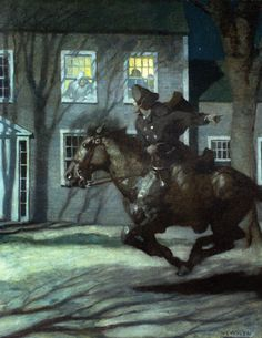 """""""Paul Revere"""" -- by Newell Convers Wyeth (American, American Revolutionary War, American War, American History, Jamie Wyeth, Andrew Wyeth, Nocturne, Paul Revere's Ride, Nc Wyeth, Heritage Museum"""