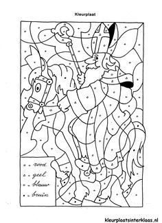 Kleurplaat Sinterklaas: vormen inkleuren