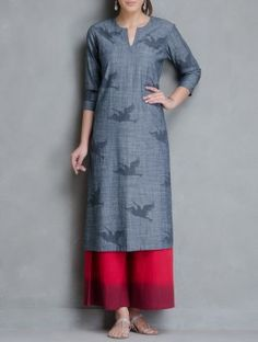 Grey Bird Printed Pocket Detailed Denim Kurta by Kora Simple Kurta Designs, Stylish Dress Designs, Indian Attire, Indian Wear, Indian Dresses, Indian Outfits, Dress Over Pants, Kurta Patterns, Kurti Collection
