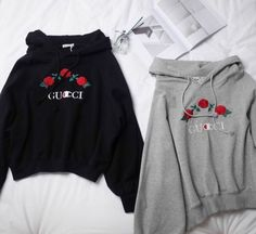 One size fits xs-m Champion/Gucci style rose embroidered sweatshirt/jumper