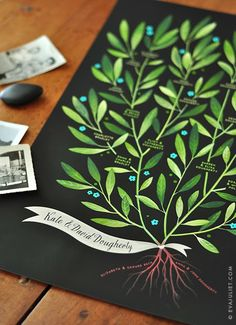 LAUREL Family Tree, 4 generations - PERSONALIZED - 13 X 19 All of these Family Trees are stunning! I want to get two made for each side or family for the guest room! Art And Illustration, Illustrations, Guache, Laurel Burch, Plantation, Beautiful Family, Crafts Beautiful, Ancestry, Oeuvre D'art