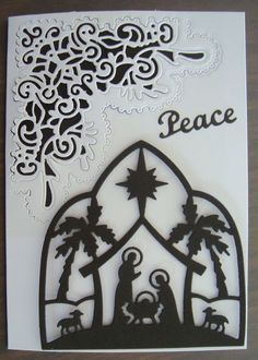 Cottage Cutz Silhouette Die, Tattered Lace Chantilly Flourish Corner die and Elizabeth Craft Designs Peace die. Stamped Christmas Cards, Religious Christmas Cards, Christmas Card Crafts, Christmas Cards To Make, Christmas Nativity, Handmade Christmas, Pinterest Cards, Elizabeth Craft Designs, Scrapbook Cards