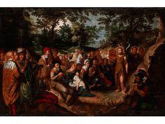 DIE PREDIGT JOHANNES DES TÄUFERS Öl auf Eichenholz. Verso Parkettierleisten. 71,5 x 107 cm. Links mittig bezeichnet für Frans Francken d. J. Gerahmt. Stark...
