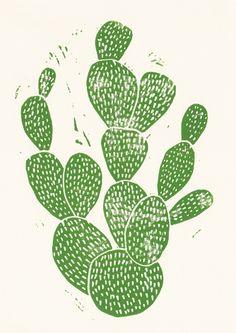 Linocut Cacti #1 Art Print