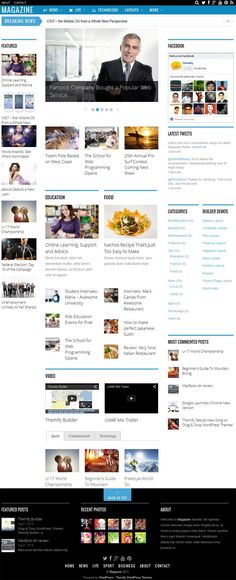 Magazine WordPress Theme is feature enriched News and Magazine theme from Themify. This premium theme is perfectly suitable for News website, Magazine website and Editorial websites. Theme comes with 3 column layout on the homepage. Theme is designed with Themify builder framework. This theme allow you to build any types of theme layout by using intuitive drag and drop option.