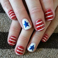 Gel polish patriotic nail art! Stars and stripes.
