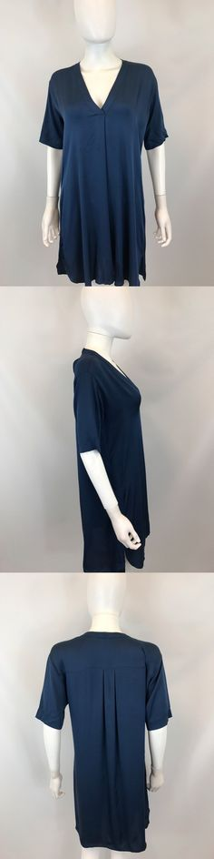 clothing and accessories: Vince Women S Navy Short Sleeve V-Neck Shift Dress Size 4 -> BUY IT NOW ONLY: $68.99 on eBay!