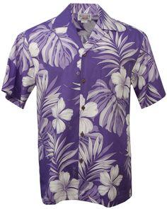 Hibiscus Passion Mens Hawaiian Aloha Shirt in Purple