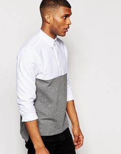 ASOS Shirt In Long Sleeve With Half Jersey Stepped Hem And Over The Head Styling