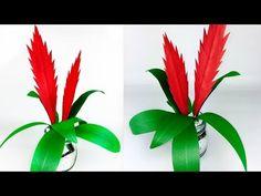 PLANTA BROMELIA EN PAPEL | BROMELAID PAPER PLANT | PAPER FLOWER | FLOR EN PAPEL  - YouTube