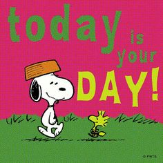Snoopy and Woodstock - Today is your day! Peanuts Cartoon, Peanuts Snoopy, Snoopy Cartoon, Cartoon Pics, Peanuts Comics, Snoopy Birthday, Happy Birthday, Birthday Greetings, Birthday Wishes