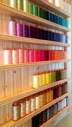 AURIFIL wire baker dozen - weight 50 - select any 12 spools, get 1 free - Michelle Gaines Sewing Room Design, Sewing Room Decor, Craft Room Design, Sewing Spaces, Sewing Studio, Sewing Rooms, Thread Storage, Sewing Room Storage, Sewing Room Organization