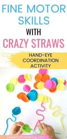 Awesome way to use a simple crazy straw and add #finemotorskills! These are great to re-use and work perfectly as a busy bag. #Color sorting, #sequencing, and hand-eye #coordination. Straw Activities, Fine Motor Activities For Kids, Preschool Activities, Busy Bags, Toddler Preschool, Fine Motor Skills, Sorting, Arts And Crafts, Eye