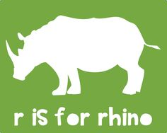 Free downloadable wall art - R is for Rhino - Multiple colors on site - Southern Rags