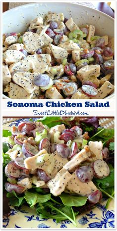 Sonoma Chicken Salad - Whole Foods' Recipe - {loaded with tender chicken breast, red seedless grapes, crunchy pecans, crisp celery, tossed in a wonderful mayonnaise, honey, apple cider vinegar, poppy seed dressing} SO GOOD!!! 5 STARS!!!  Save $ and make it yourself!  SweetLittleBluebird.com