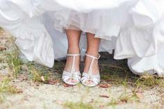 David's Bridal Dyeable Satin Wedge Wedding Shoes $45