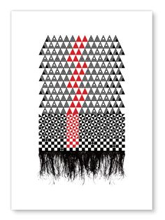 Red and black geometric print (Fine Mat) - Pacifika inspired print by Erupt Prints. Black abstract a Maori Patterns, Knitting Patterns, Graphic Prints, Art Prints, Graphic Design, Abstract Sculpture, Bronze Sculpture, Wood Sculpture, Maori Designs