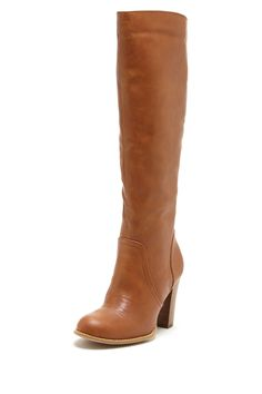 "Classic 3.5"" stacked heel boot in cognac, $45.00"
