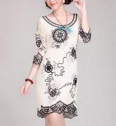 Floral Rims Silk Dress-zeniche.com SKU aa0080