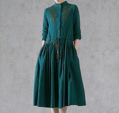 Zümrüt Pamuk Keten Elbise Button Up Loose Elbise Yarım Kol Tunik Elbise Kemer SD060 gönder takılması