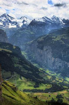 Murren and valley view from Mannlichen, Switzerland