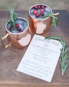 Delicious Christmas drinks! 🎄 #moscowmule • • • Photography by @nicoledawnphotography Flowers @elisenielson Rentals @plankandpearl #christmasdrink #weddingday #cocktails #winter #bride #christmascocktails #weddinginspo #rustic #wedding #weddings #bride #bridal #bridalinspo #weddingplanning #weddingchicks #weddingblog #cute #dog #puppy #christmas #christmasday #christmaswedding #winterwedding #winter #xmas #christmas2016 #xmas2016 #snow