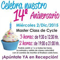 Celebra nuestro 14º aniversario el miércoles 2/Dic/2015, en cualquiera de nuestras 2 Master Class de Cycle de 3 (de 9:30 a 12:30 hh) y de 2 horas (19:00 a 20:00 hh) ininterrumpidas. Reserva tu cupo YA en recepción. http://reebokmalaga.com/