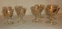 VINTAGE LIBBEY/ROCK SHARPE Crystal Wine/Champagne Glasses - Set of 8 Golden Foliage with Gold Trim