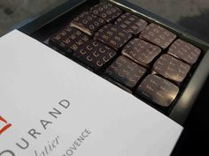 """Joel Durand Chocolate  St. Remy de Provence  I love the """"V"""" for violet...yum!"""