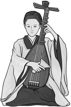 [ biwa / chikuzen biwa ] plucked string instrument.