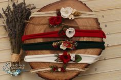 Gorgeous tiebacks in Christmas tones; jersey tiebacks, jute tiebacks Tieback will fit newborn+; may fit children Tiebacks are sold individually; scroll down and select entire set if you would like to purchase all 6 tiebacks. Slight differences may occur due to stock changing or