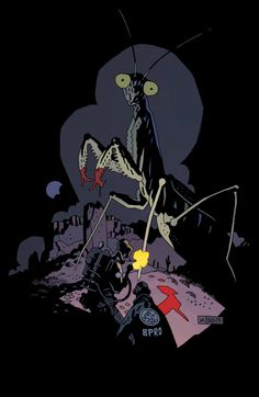 The BPRD vs. a giant mantis. B.P.R.D.: 1948 #1 Variant by Mike Mignola