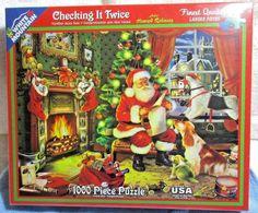 "1000 Piece Christmas Puzzle ""Checking it Twice"" Sealed Box #WhiteMountain"