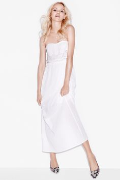 White maxi dress with lace detail. HM. #PARTYINHM