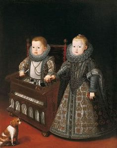 """1600 Bartolomé González y Serrano, (Spanish artist, The Infantes Don Alfonso, called """"el Caro,"""" and Dona Ana Margarita with an infant rolling chair. Does anyone know who these little Habsburgs were? Infanta Margarita, Spanish Painters, Spanish Artists, Renaissance Fashion, Renaissance Art, Renaissance Espagnole, 17th Century Fashion, 16th Century, Art Through The Ages"""
