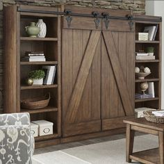 Lancaster Rustic Sliding Barn Door Wal | Furniture and Mattress Outlet