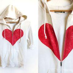 6d1be36cae11c5 Un-break my Heart Hand STENCILED Zip Hoodie Heather Artist Series  Sweatshirt in Cream -