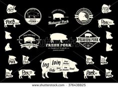 Set of pork logo. Butchery labels with sample text. Pork design elements, pig icons and silhouettes for groceries, meat stores, packaging and advertising. Pork cuts diagram - stock vector