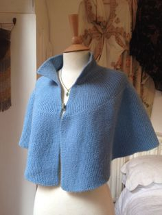 Blue Hand Knitted Cape by Talulahblueburlesque on Etsy