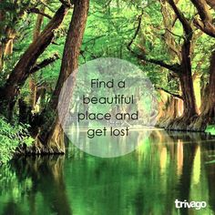 Travel Quotes:  Find a beautiful place and get lost.