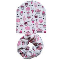 Cotton Baby Hat Set Ice Cream Love Print Cotton Cap Baby Hats Newborn Hat Children Scarf Collar Boys Beanie Kids Cap for Girls  Price: 4.17 USD