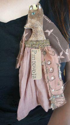 Anouk de Groot - Matchbox Mini art doll fabric brooch fox textile art by pantovola
