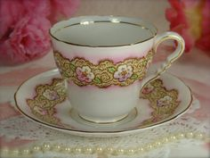 Beautiful Vintage Porcelain Pink Floral Teacup by HappyGalsVintage