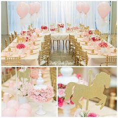 Who doesn't love pink?! Shots by @kriskan @whitenightdesign @designsbychristine #kidstable #carouseltheme #carousel #firstbirthday #shesone #tablesetting #chivari #eventplanner #kidstable #kidsevents #flowers #beautifulevents #laplanner #eventplanning #pinkonpink #pink #dreamy
