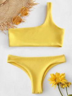 5f9743c6356 Textured One Shoulder Bikini. ZAFUL.  42% OFF   HOT  2019 Textured One  Shoulder Bikini In RUBBER DUCKY YELLOW ...