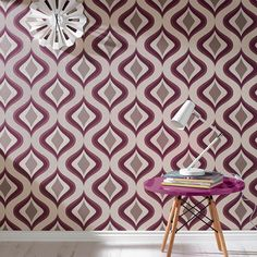 Removable wallpaper for powder room? Trippy Purple | Graham & Brown -