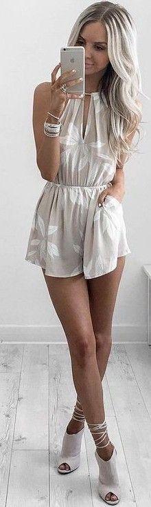 #summer #feminine #outfits | Light Neutral Romper
